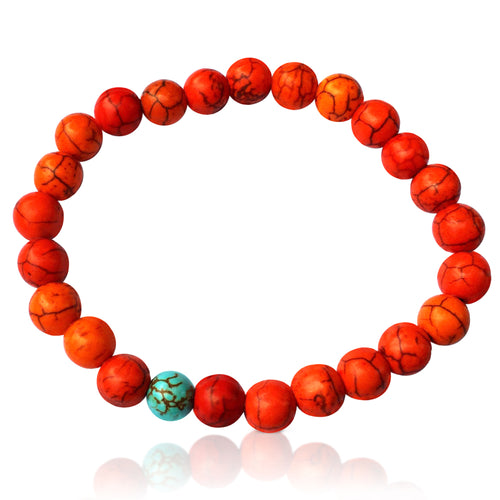 Orange Wanderlust Turquoise Mala Bracelet  Colorful and fun beach or yoga accessory. Stretchy and Strong. Unisex.  Practicing Buddhism? Use it as a stylish wrist mala!