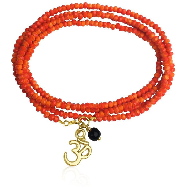Orange Crystal Wrap Bracelet with Ohm for Creativity
