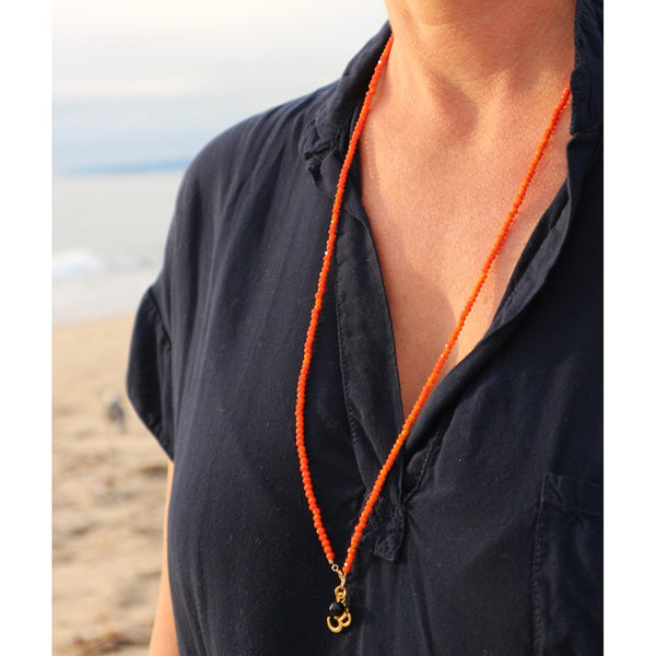 Orange Crystal Necklace with Ohm for Creativity