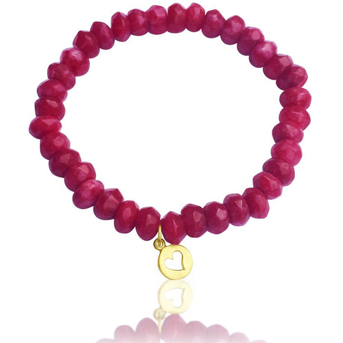 Gold Filled Heart Charm on a Pink Agate Bracelet to Harmonize Your Life