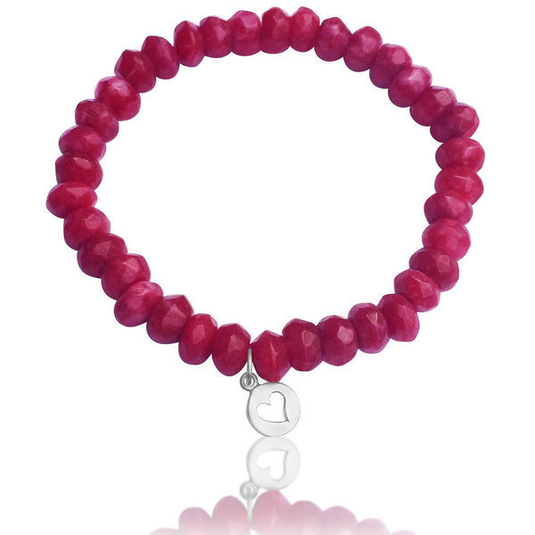 Sterling Silver Heart Charm on a Pink Agate Bracelet to Harmonize Your Life