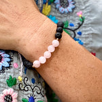 Lava Stone with Pink Agate Bracelet for Loving Thoughts