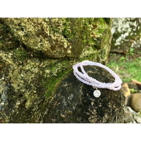 Pink Crystal Wrap Bracelet for Acceptance with a Sterling Silver Compass Charm