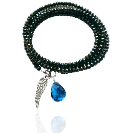 Teal Blue Crystal Wrap Bracelet for Open Communication with Rutilated Quartz and Garnet