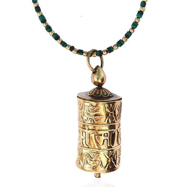 Golden Prayer Wheel on Malachite Necklace