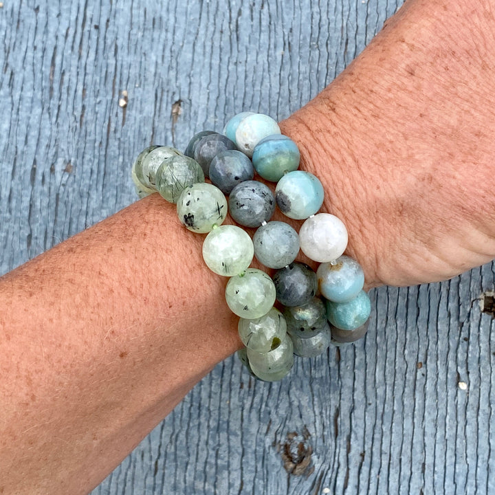 Labradorite, Prehnite and Amazonite Bracelet Trio to Assists in Dealing with Feelings of Constant Change in Our Lives.