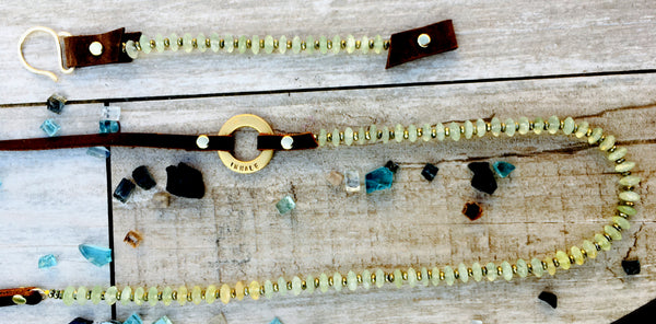 Serenity Statement Jewelry: Prehnite, Leather Prayer Inhale / Exhale Necklace for a Positive Change in Your Life. Brings good vibes for confident young women; it is also excellently suited to underlining the individuality of the more mature woman. Sophisticated, inspirational and yoga accessory. Mindfulness reminder to Breathe.