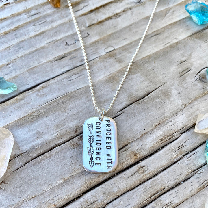 Sterling Silver Proceed with Confidence Inspirational Dog Tag Necklace