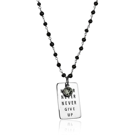 Never Give Up Carnelian Dog Tag Necklace