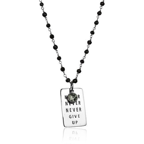 Inspirational Sterling Silver Never Give Up Dog Tag on Silver Wire Wrapped Pyrite Necklace.