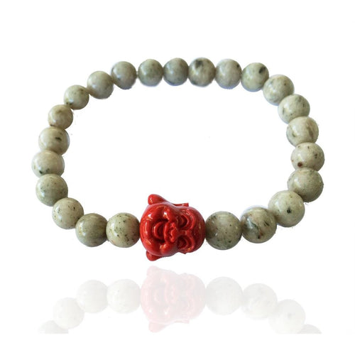 Unisex Yoga Inspired Stabilizing Jasper Bracelet with Red Buddha