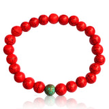 Red Wanderlust Turquoise Mala Bracelet  Colorful and fun beach or yoga accessory. Stretchy and Strong. Unisex.  Practicing Buddhism? Use it as a stylish wrist mala!