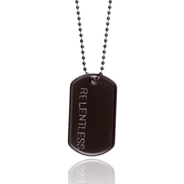 Black Stainless Steel Military Style  Relentless Inspirational Dog Tag Necklace