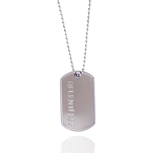 Stainless Steel Military Style  Relentless Inspirational Dog Tag Necklace
