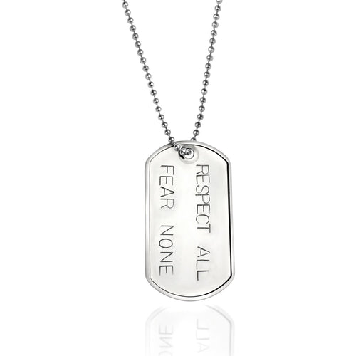 Respect All, Fear None - Stainless Steel Dog Tag Necklace. Mindfulness Inspired Military, Army, Navy, Air Force, Marine Style Unisex Accessory for Tolerance in the World