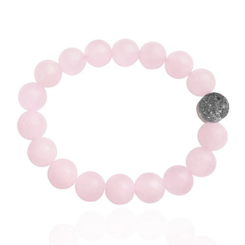 Rose Quartz Loving Intention Bracelet with Drusy Quartz