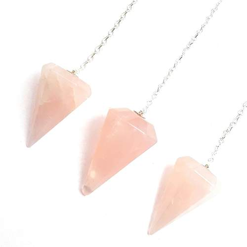 Emotional Healing Rose Quartz Pendulum Pendant Healing Point