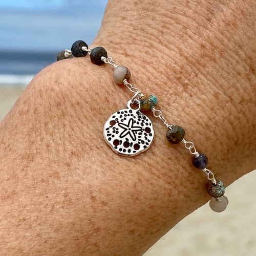 Mother Earth Anklet with Sand Dollar Beach Charm with a Mix of Semi-Precious Chakra Healing Stones