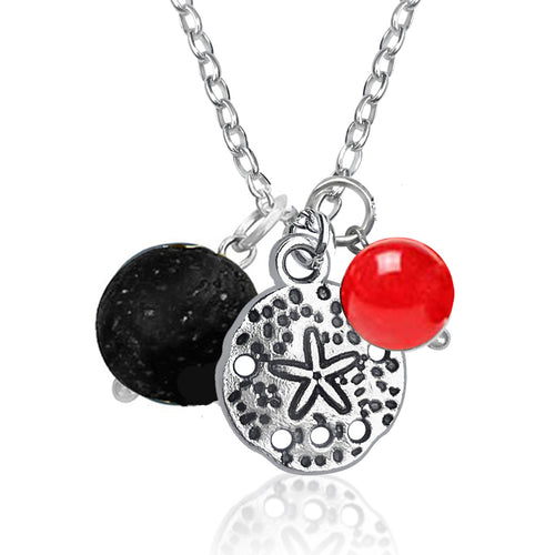 Ocean Inspired Sand Dollar Charm Necklace with Lava Stone and Red Jade
