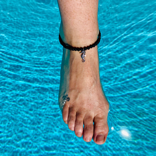 Ocean Inspired Seahorse Anklet with Lava Stone