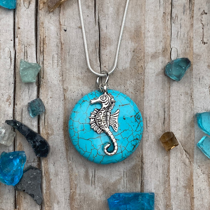 Ocean Inspired Turquoise Pendant with Seahorse Necklace