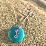 Ocean Inspired Turquoise Round Pendant with Seahorse on Silver EP Snake Chain Necklace