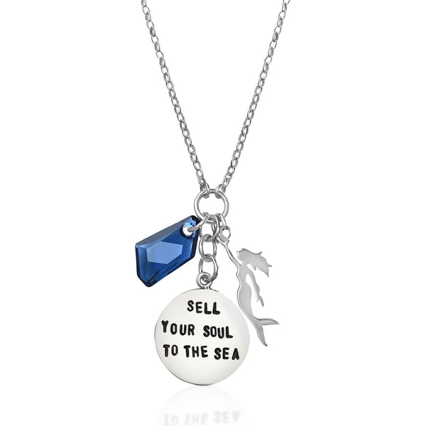 Sterling Silver Sell Your Soul to the Sea Hand Stamped Necklace with Blue Swarovski Crystal and a Sterling Silver Mermaid Charm