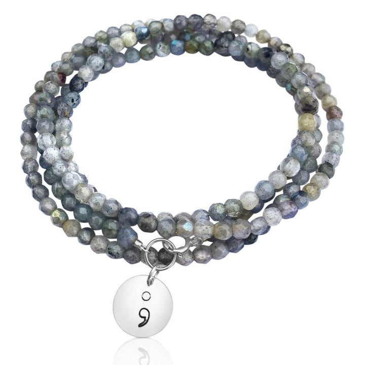 Labradorite Wrap Bracelet with Sterling Silver Semicolon Charm to represent the fact that you have complete power over yourself. depression jewelry, depression awareness jewelry, anxiety & depression jewelry, postpartum depression jewelry, depression recovery jewelry, depression meditation, depression wrap bracelet.