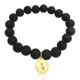 Lava Stone Bracelet with Semicolon