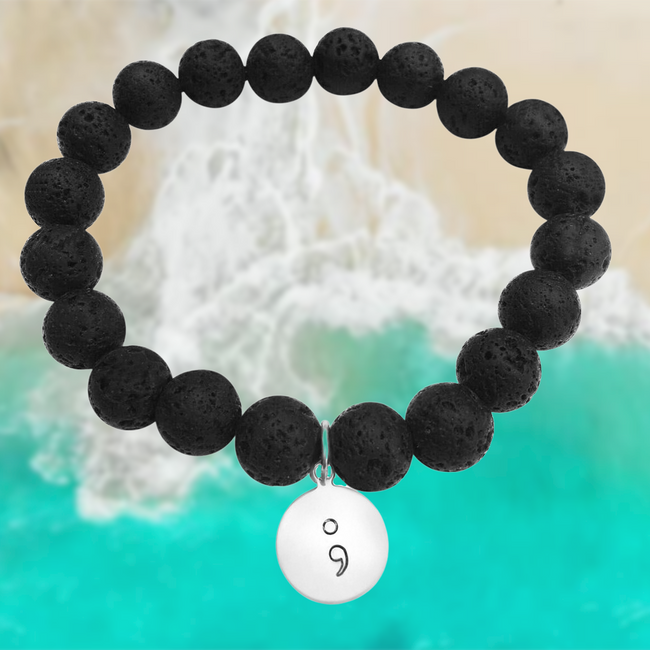 My Story isn't Over Bracelet with Semicolon and Lava Stone