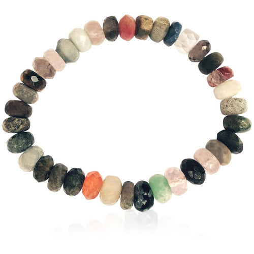Mindfulness Bracelet with a Mix of Semi-Precious Chakra Healing Stones