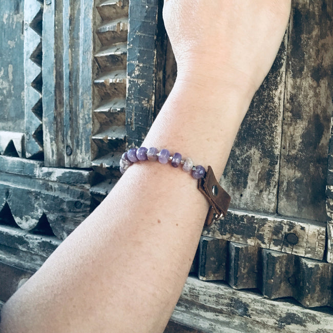 Serenity Statement Jewelry: Amethyst, Leather Prayer Bead Bracelet to Help Cope with Stress in Your Life. Brings good vibes for confident young women; it is also excellently suited to underlining the individuality of the more mature woman. Sophisticated, inspirational and yoga accessory. Mindfulness reminder to Breathe.