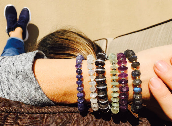 Serenity Statement Jewelry: Tanzanite, Leather Prayer Bracelet to Celebrate Individuality. Brings good vibes for gracefully aging women. Sophisticated, inspirational and yoga accessory. Mindfulness reminder to Breathe.