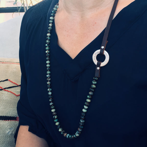 Serenity African Turquoise Necklace with sterling silver Breathe infinity pendant to remind you to Enjoy the Journey