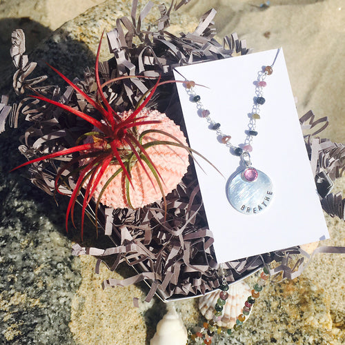 Succulent Jewelry Box: Tillandsia in Sea Urchin Shell & Sterling Silver BREATHE Pendant on Rainbow Color Tourmaline Necklace for Understanding and Chakra Healing