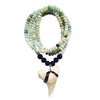 Shark Tooth Necklace for the Adrenaline Hunters and Shark Lovers - on a 30 inch Long Amazonite and Lava Necklace. No sharks are harmed in the making of your shark tooth jewelry.