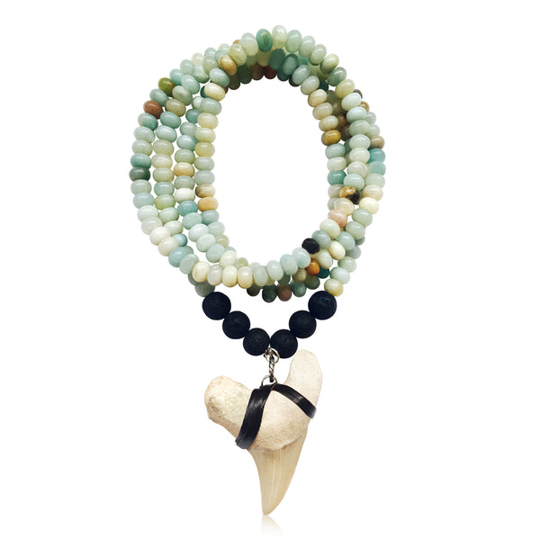 Shark Tooth Necklace for the Adrenaline Hunters and Shark Lovers - Amazonite and Lava