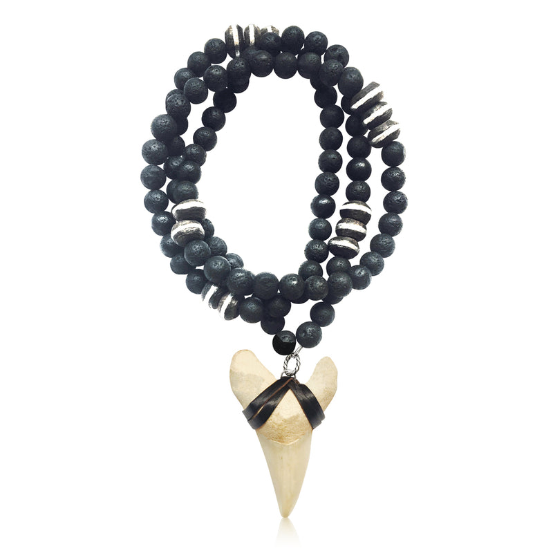 Shark Tooth Necklace for the Adrenaline Hunters and Shark Lovers - Ebony Wood and Lava