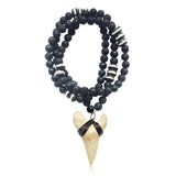 Shark Tooth Necklace for the Adrenaline Hunters and Shark Lovers - on a 30 inch Long Ebony Wood and Lava Necklace