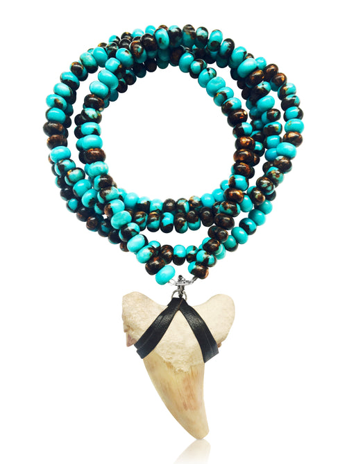 Shark Tooth Necklace for the Adrenaline Hunters and Shark Lovers - on a 30 inch Long Turquoise Necklace