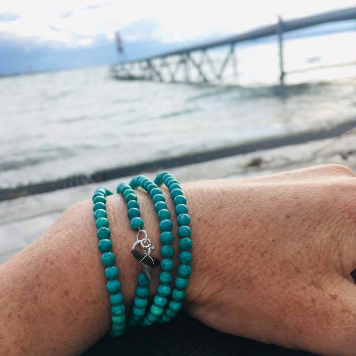 Turquoise Wrap Bracelet with Shark Tooth for the Adrenaline Hunters and Shark Lovers