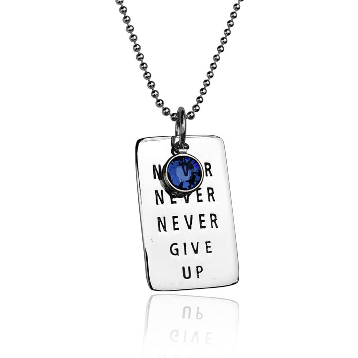 Never Give Up Sterling Silver Inspirational Dog Tag Necklace with Swarovski Crystal