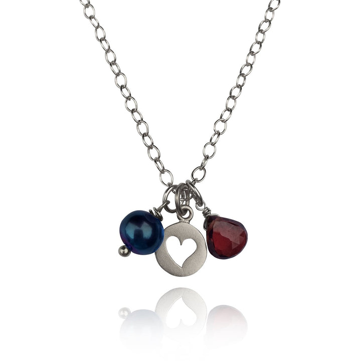 Attract Love - Sterling Silver Heart Necklace with Garnet and Fresh Water Pearl