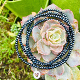 Silver Heart Midnight Dark Crystal Wrap Bracelet for Self Love