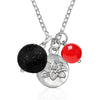 Yoga Inspired Lotus Charm Necklace with Lava Stone and Red Jade for Life-Force