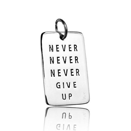 Never Give Up Sterling Silver Dog Tag Necklace