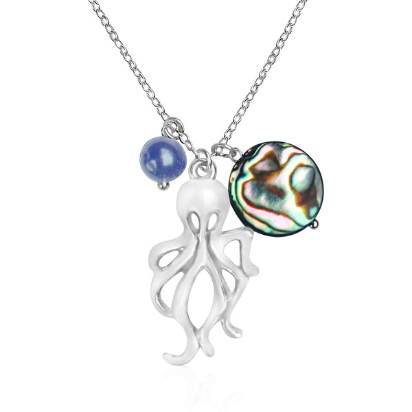 Octopus Silver EP Ocean Charm Necklace with Abalone and Lapis Lazuli Charms on Silver Necklace