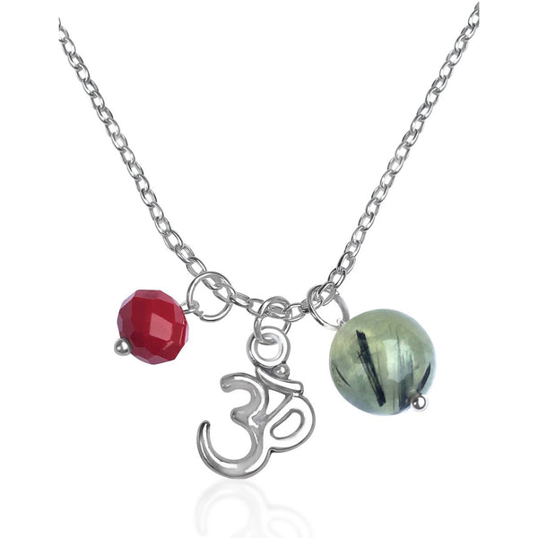Ohm Charm Necklace with Prehnite and Red Crystal
