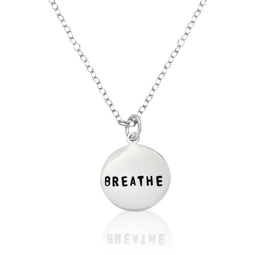 Sterling silver BREATHE Pendant on an oval link sterling silver necklace