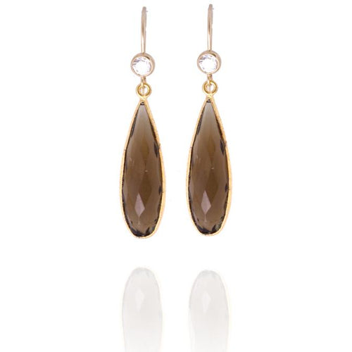 Smoky Quartz Crystal Gold Filled Earring to Remove Negativity